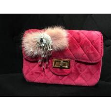 Velvet Checkered Sling Bag (Fuchsia Pink)