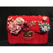 Tweed Sling Bag (Red)